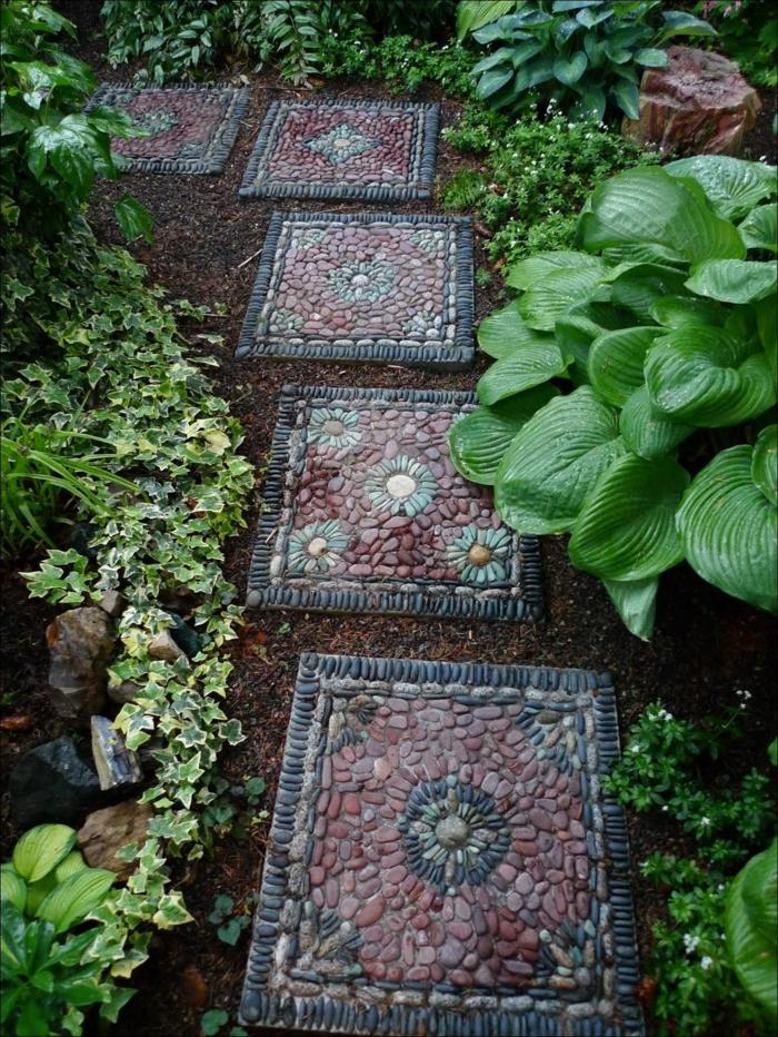 decoracion patios exteriores con baldosas de piedras, propuestas decorativas originales jardín