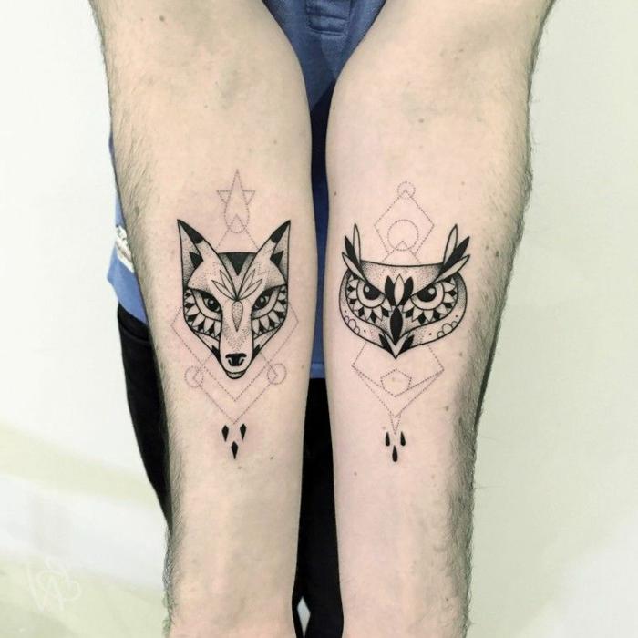 tatuajes simbólicos con animales en los dos antebrazos, diseño original dibujos de zorro y buho