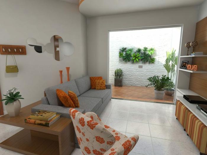 decorar salon pequeño cuadrado, con sala transitoria que nos lleva al pasillo con flores vivas