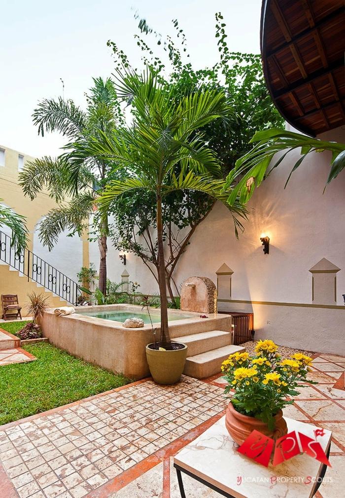 decoracion patios exteriores, jardín exótico, con diferentes plantas en macetas grandes y césped pequeño