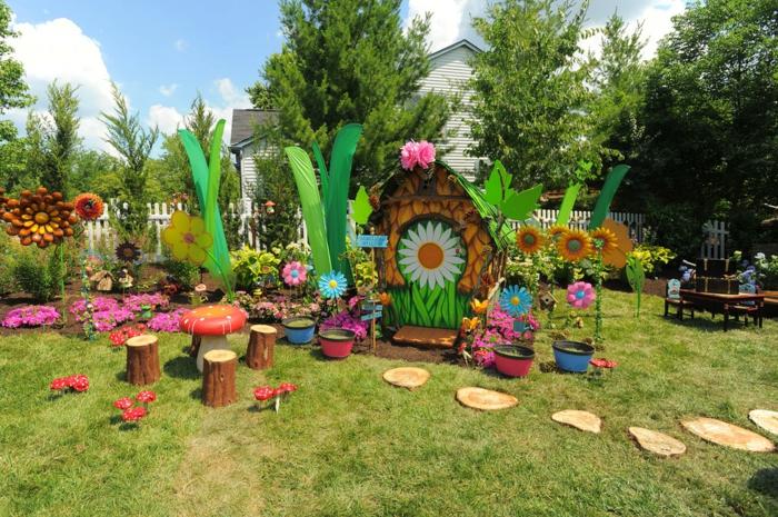 decoracion de jardines rústicos, jardín para niños, mi tierra Disney con sillas de troncos y mesa seta