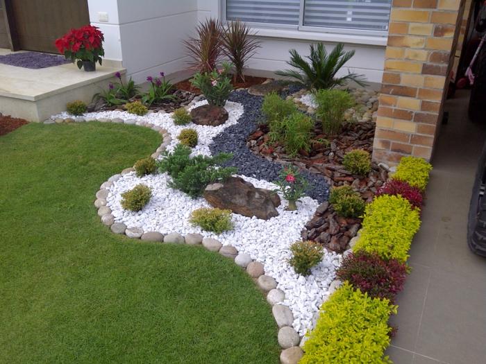 cómo decorar un jardin mediterraneo con grava volcánica, canto rodado y césped paso a paso