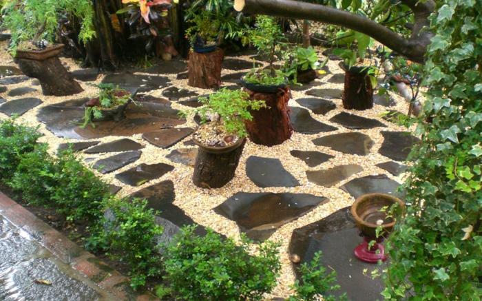 jardines bonitos decorados con gravilla y piedra, ingeniosas ideas de decoración de espacios pequeños