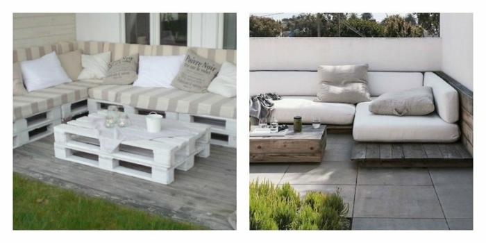 dos ideas de mesas bajitas de palets, ideales para ahorrar dinero, una está pintada de blanco
