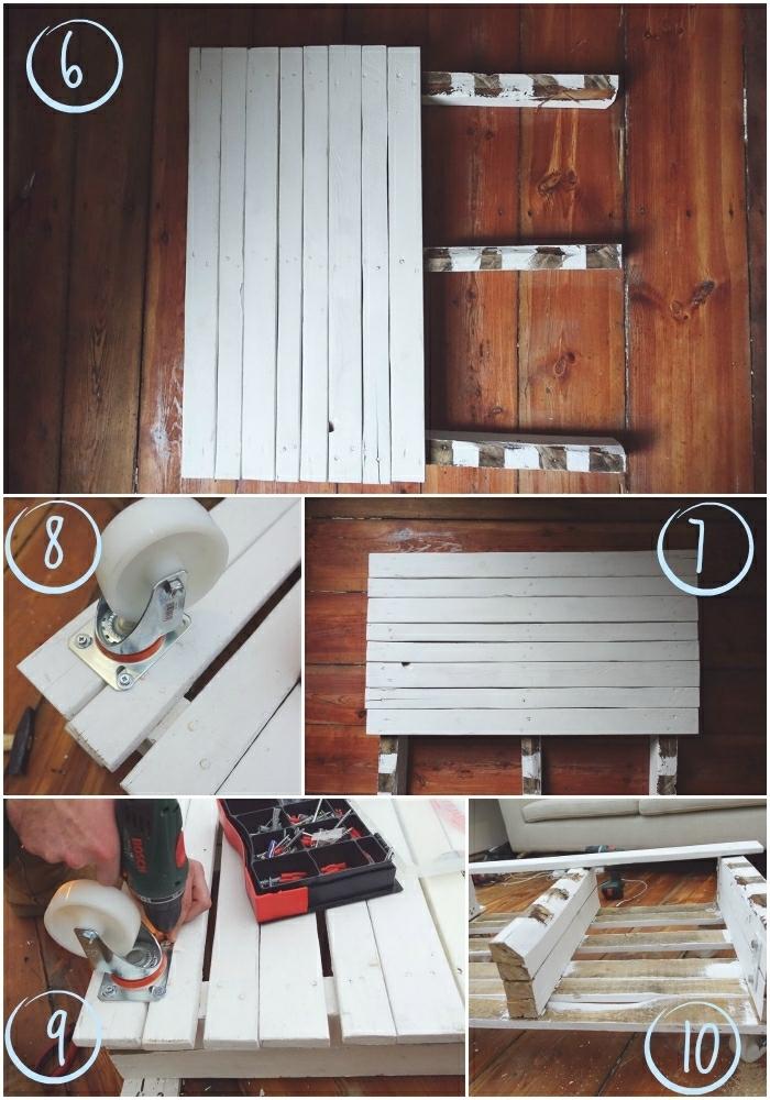 segunda parte de los pasos a seguir para crear tu mesa con palets con listones adicionales, manualidades con palets