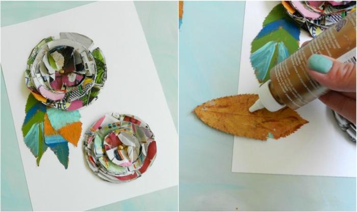 ideas decorativas originales con papel y hojas de árboles secas, manualidades faciles y rapidas