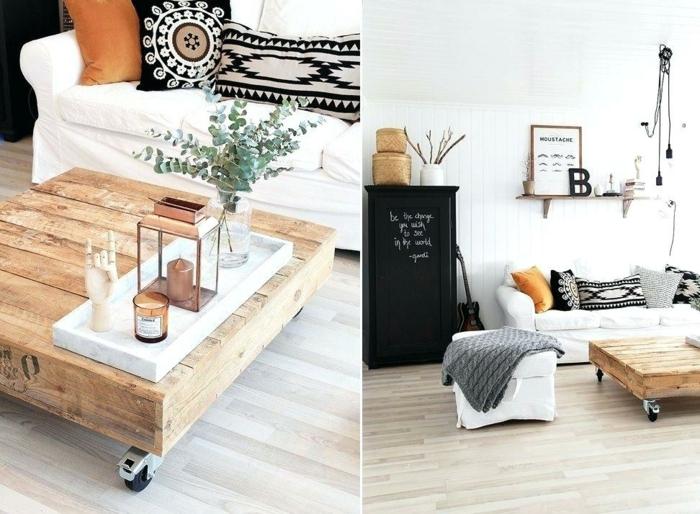 mesas de palets, dos ideas en fotos para decorar nuestro salón, mano de madera en la mesa, sofá blanco