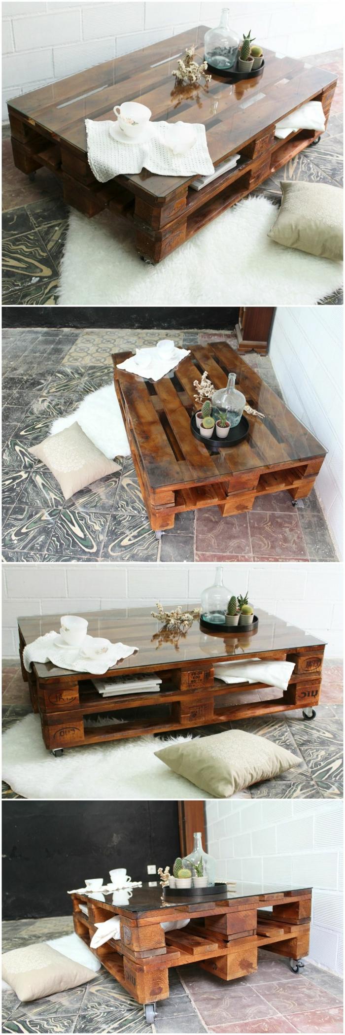 cuatro fotos de la misma mesa vista de diferentes sitios, pintada en marrón, mesas con palets
