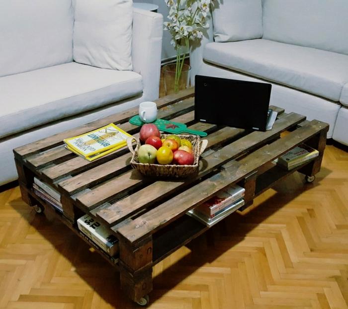 manualidades con palets, mesa de color marrón oscuro con ruedas en el salón con frutas encima y laptop