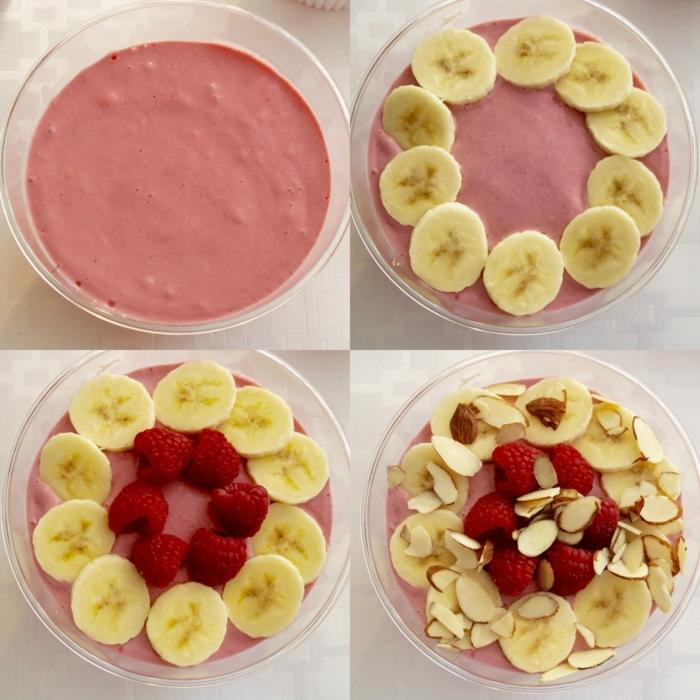 pasos para preparar un batido de plátanos y frambuesas con almendras crudas, desayunos faciles y rapidos