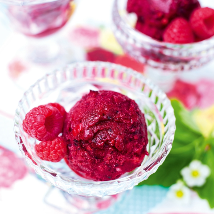 vaso de cristal con bola de helado de fresas y frambuesas, postres faciles y rapidos sin hornopostres faciles sin horno