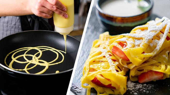 pasos para hacer crepes roti jala, originales ideas de desayunos saludables y ricos para preparar, fotos con ideas de recetas