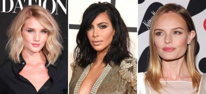 tres propuestas cortes de pelo media melena cara redonda, media melena lisa, media melena con rizos y ondulada