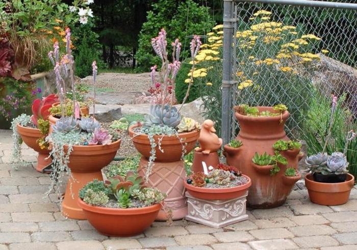 bonita decoración con macetas de arcilla, plantas suculentas, ingeniosas ideas para un jardín pequeño