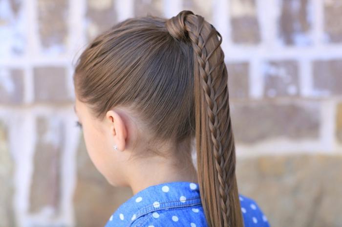peinados bonitos para pelo largo, preciosa coleta alta trenzada, ideas de peinados originales