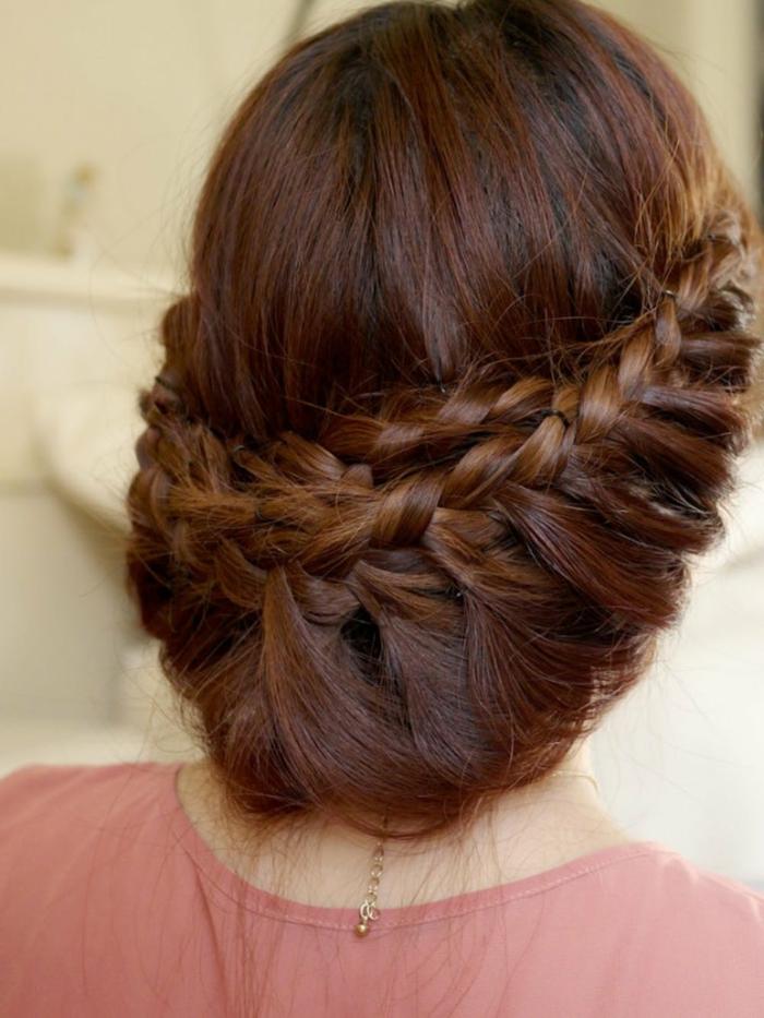 fotos de peinados originales con trenzas de raiz laterales, recogido romántico pelo largo mujer