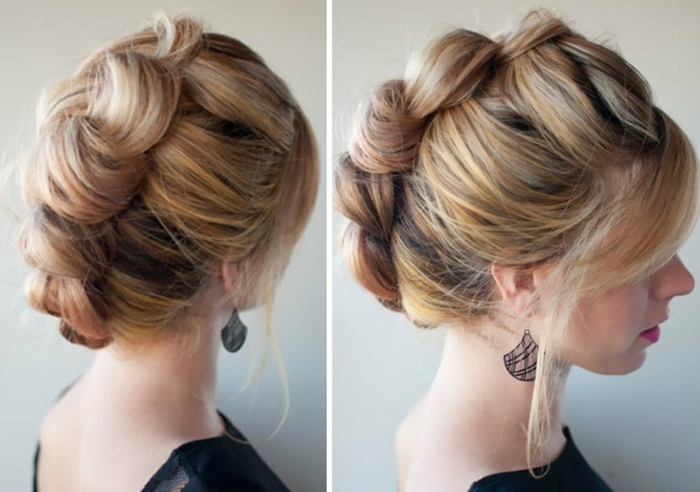 peinado original pelo largo rubio con mechas en rosado, fotos de peinados originales con trenzas