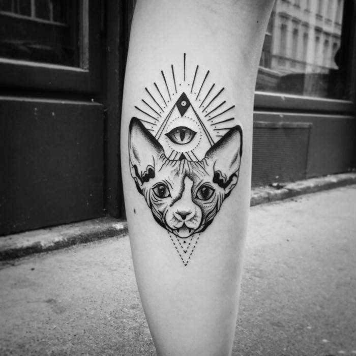 simbolo triangulo tatuado en la pierna, dibujo de pero, triángulo con un ojo dentro, tatuajes con mensaje