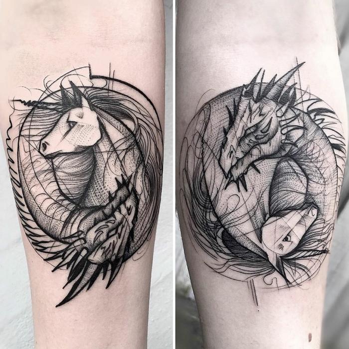ideas de tatuajes simbolicos para hombres, ideas tatuajes para dos, animales magicos unicornio y dragón