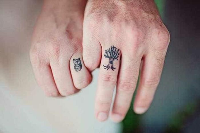 diseños de tatuajen que signifiquen familia, tatuajes en los dedos, dibujos de buho y árbol, ideas creativas