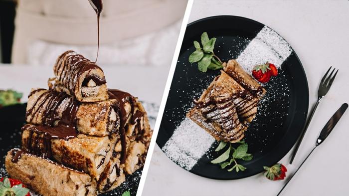 postres navideños super ricos, rollos con chocolate, plátanos, frambuesas y azucar en polvo, ideas de postres caseros