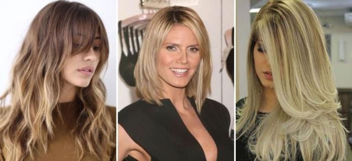tres ejemplos de medias melenas rubias con mechas balayage, cortes de pelo mujer 2018 media melena