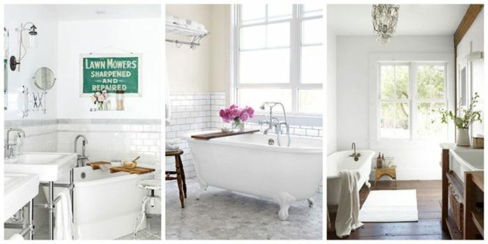 tres variantes decoración aseos pequeños en estilo vintage con bañeras, decoración baños en blanco