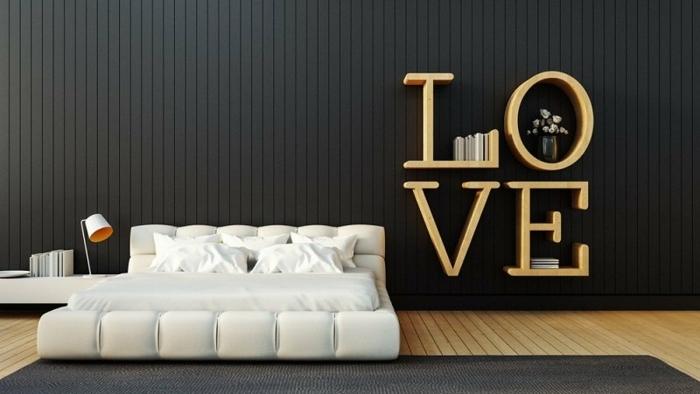 como decorar una habitacion en estilo contemporáneo, cama super moderna en color champán y estantería original
