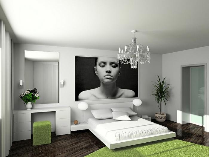 feng shui dormitorio con paredes blancas, cuadro me mujer grande en el medio y alfombra verde