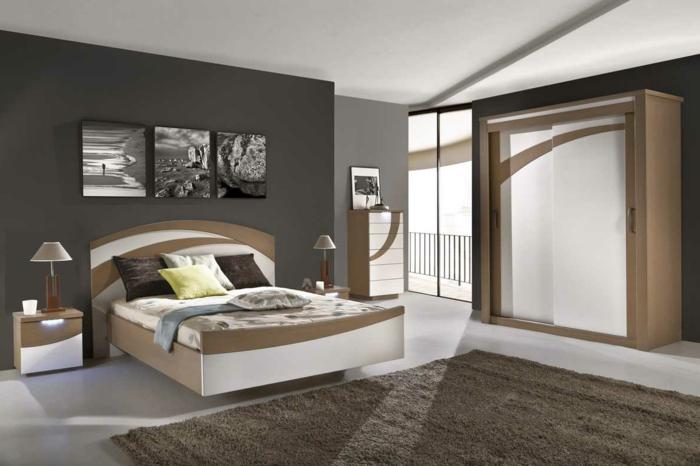 cama matrimonial en marron y blanco con alfombra marrón, paredes en gris claro y gris oscuro, cuadros
