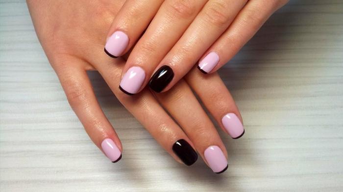 diseño elegante en lila y negro, uñas cortas cuadradas, tendencias 2018 en uñas francesas decoradas