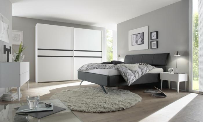 pintar habitación, paredes en gris claro, techo blanco, alfombra de pelos en gris