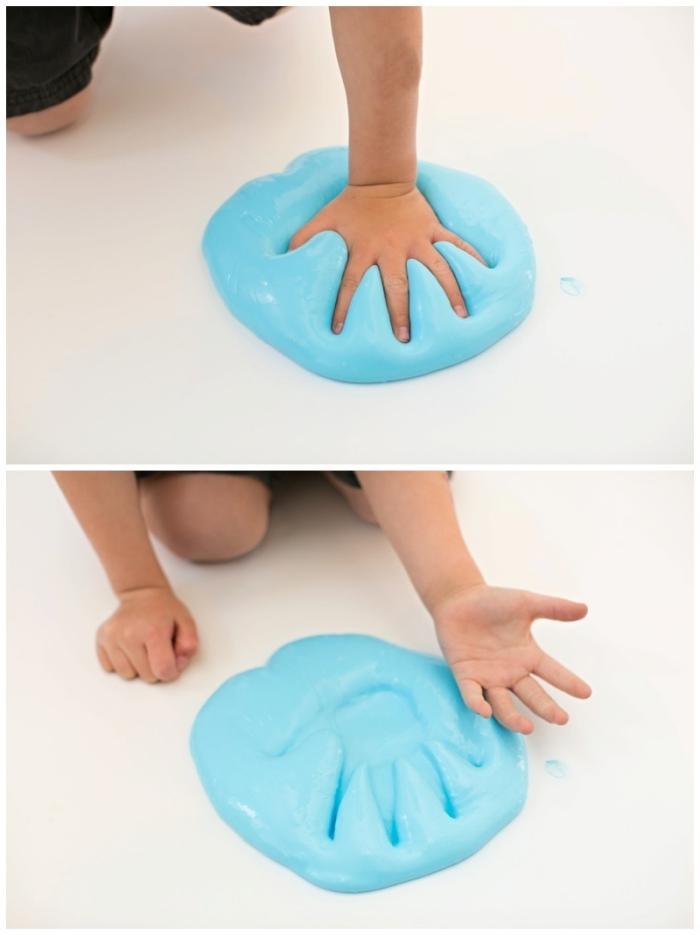 divertidas ideas sobre cómo hacer slime y manualidades con slime, mesa pegajosa en color azul