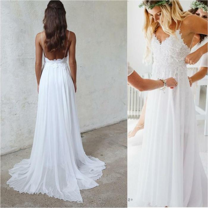 largo vestido en color blanco nuclear con espalda descubierta, parte superior de encaje y correas muy finas
