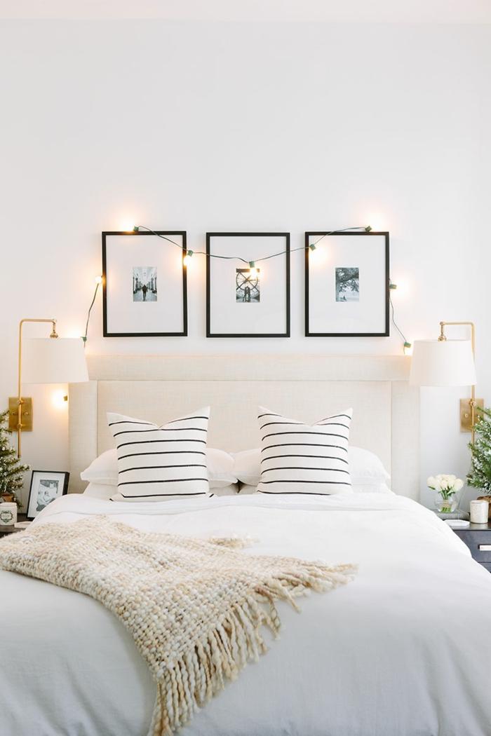 dormitorios matrimonio decorados en estilo moderno y colores claros, tres cuadros decorativos