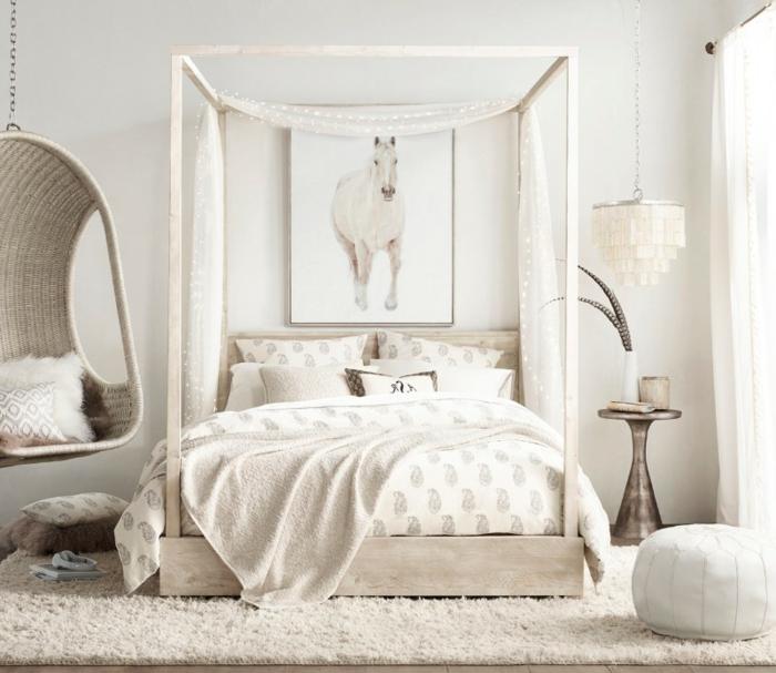 dormitorios matrimonio decorados en un solo color, decoración en beige, muebles de diseño moderno