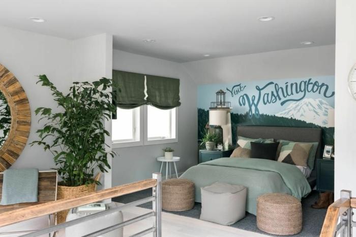 dormitorios matrimonio en estilo bohemio moderno, plantas verdes, colores saturados y mueles de mimbre