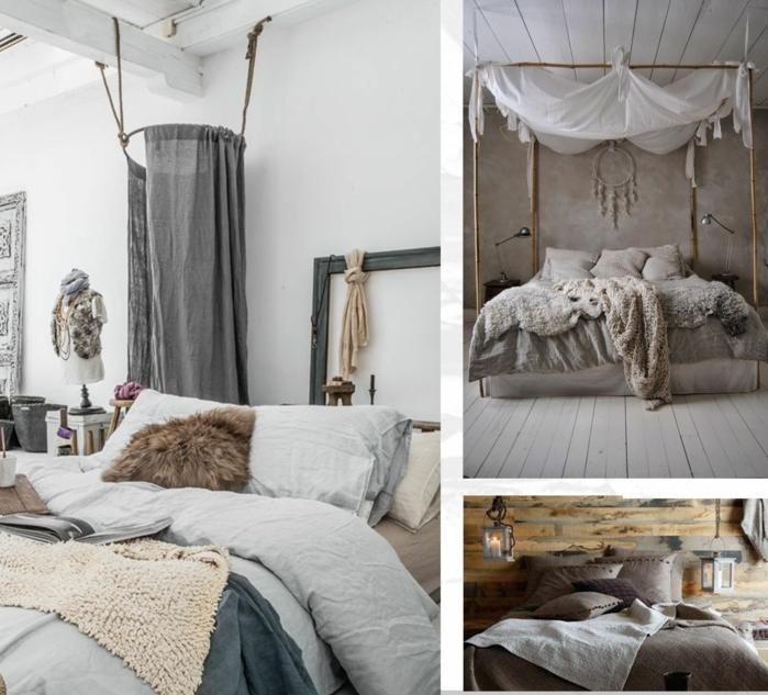 tres ejemplos de decoración en blanco y colores terrestres, decoracion dormitorios moderna