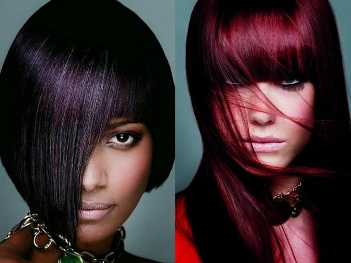 color caoba, dos modelos morenas con colores de pelo morado oscuro y borgoña con flequillo