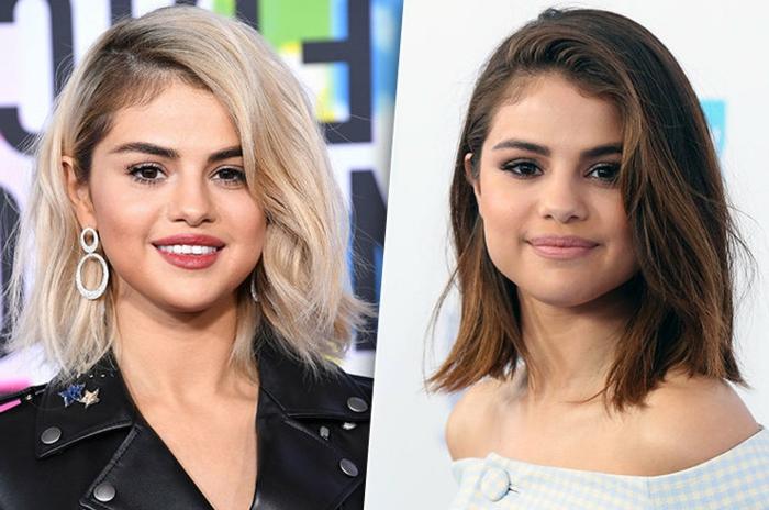Selena Gomez, dos cambios de look muy drásticos, melena rubia Nirvana Rubio y ,melena castaña con reflejos, color caoba