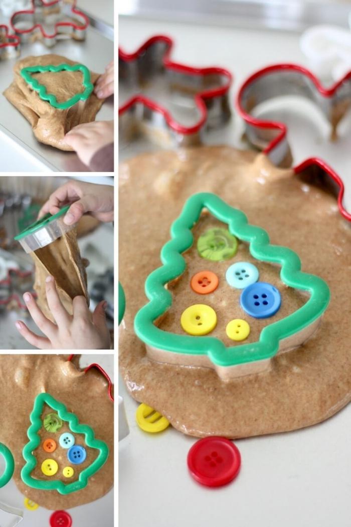 decoración navideña DIY hecha con slime, como hacer slime con cola blanca paso a paso