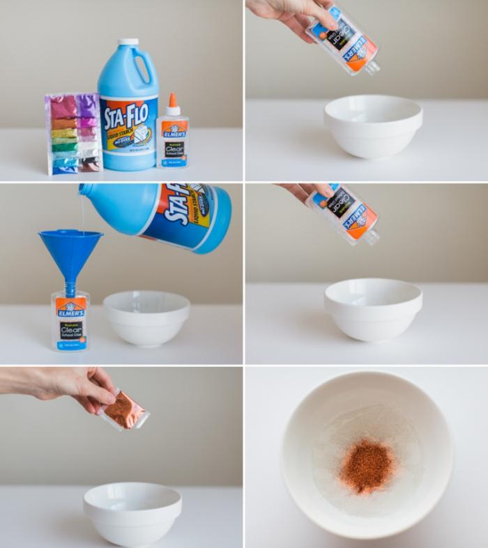 cómo hacer slime paso a paso, slime en color azul hecho con detergente liquido paso a paso