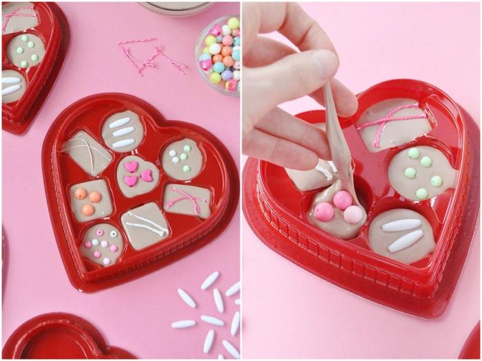 regalos y sorpresas de san valentín, caja de chocolates de slime, ingredientes slime recetas fáciles
