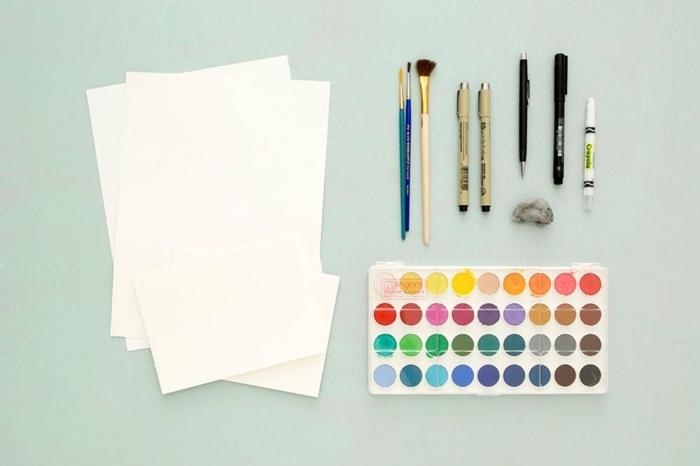 materiales necesarios para hacer un cuadro original con pintura acuarela, regalos amigas DIY