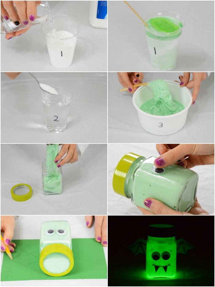 ingredientes slime para hacer frascos decorativos llenos de slime paso a paso, ideas de manualidades