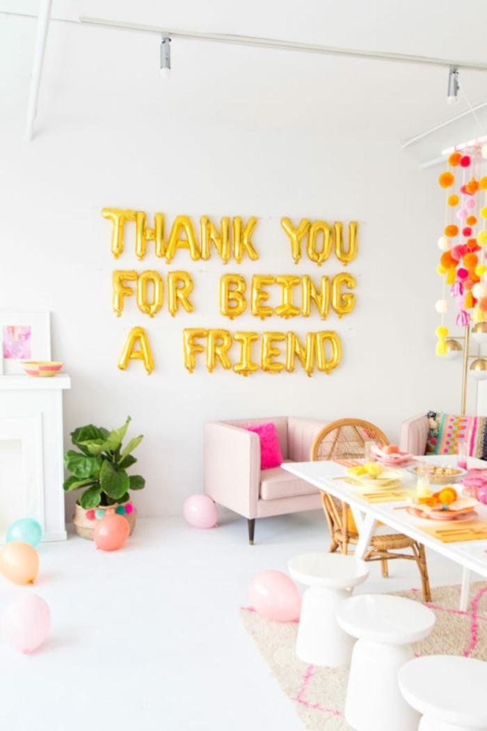 como sorprender a mi mejor amiga, decoracion con globos letras, ideas sobre que regalar a una amiga