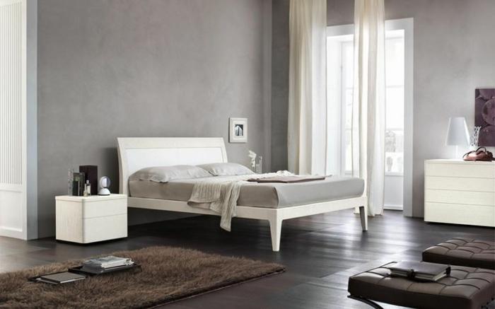 como pintar una dormitorio, cama blanca con sábanas en gris con paredes en gris, ventana grande con cortinas