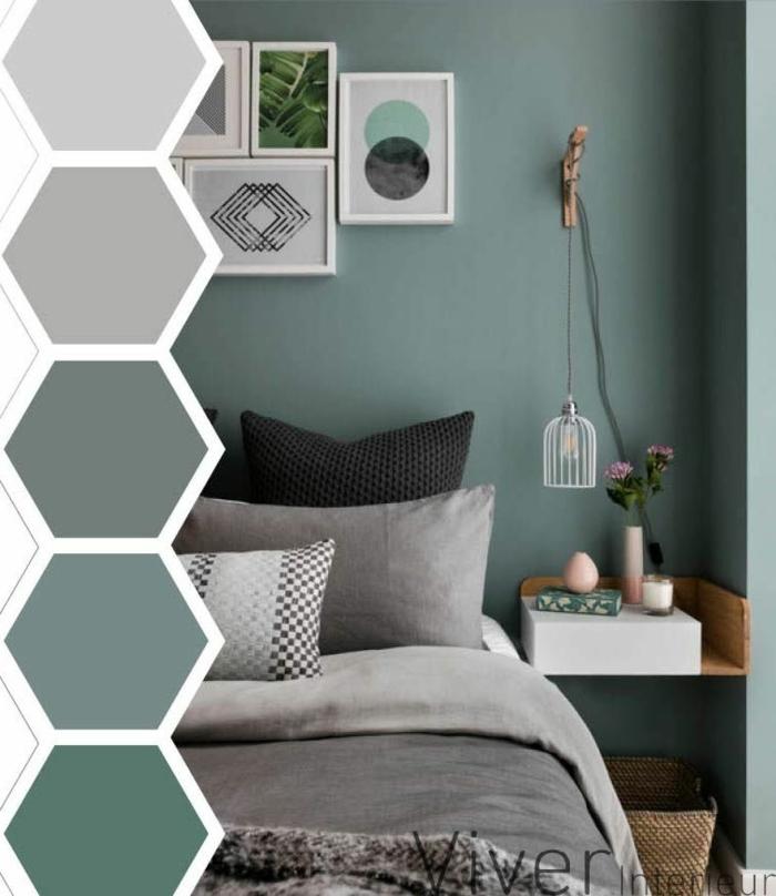 como pintar una dormitorio en colores azules y verdes, gama en la izquierda con todos los colores utilizados