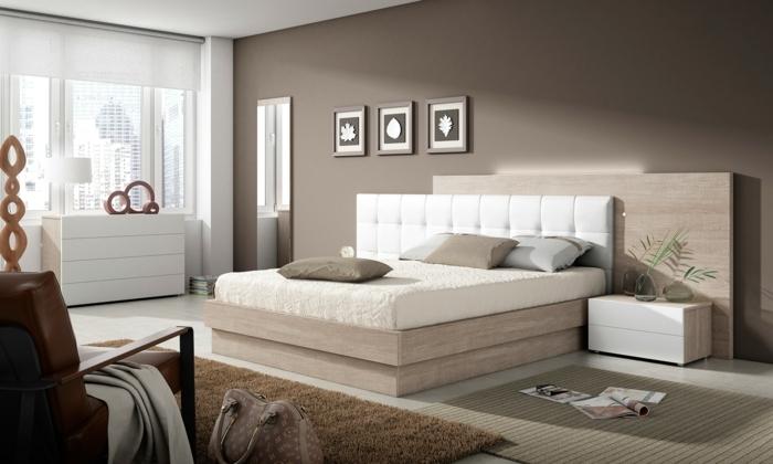 como pintar una habitacion, cama con cabecera de cuero blanco con alfombra en marrón con paredes en marrón