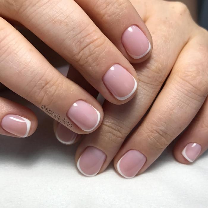 manicura french a uñas cortas, como hacer manicura francesa, versión clásica en rosado y blanco